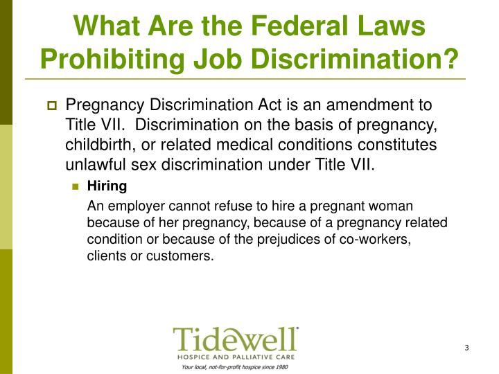 What are the federal laws prohibiting job discrimination1