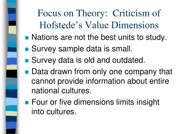 hofstedes five dimenstions Dimensions of culture are an important aspect of international business knowing how cultures view different aspects of business can help a manager.