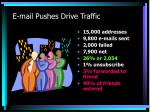 e mail pushes drive traffic