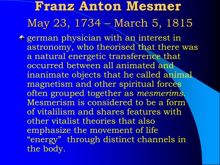 Franz anton mesmer may 23 1734 march 5 1815