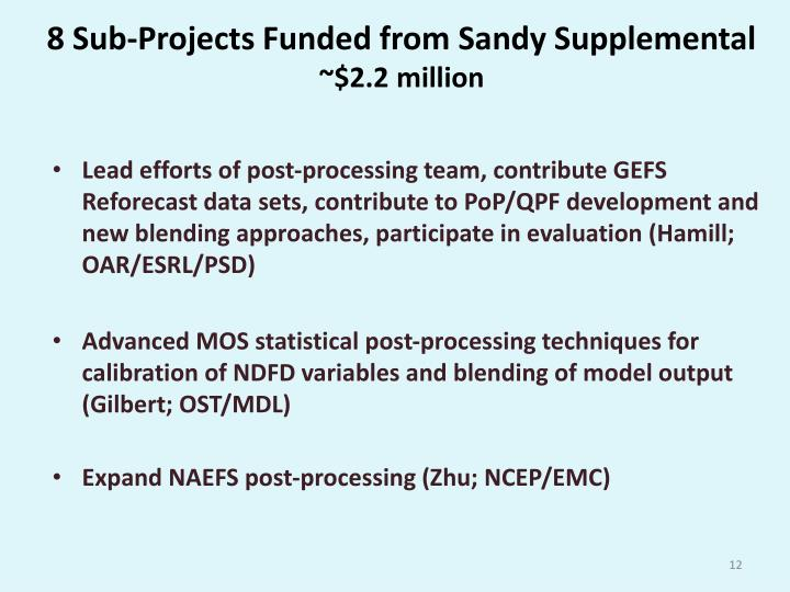 8 Sub-Projects Funded from Sandy Supplemental