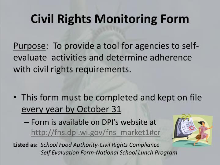 Civil Rights Monitoring Form