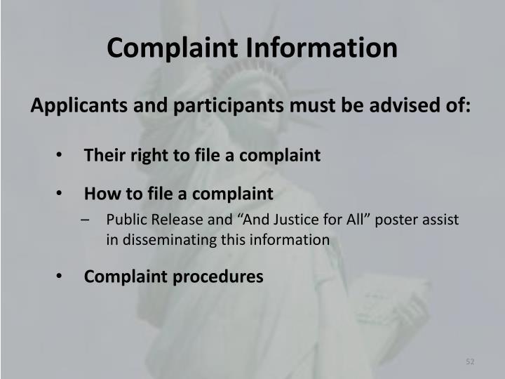 Complaint Information