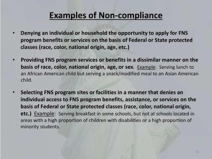 Examples of Non-compliance
