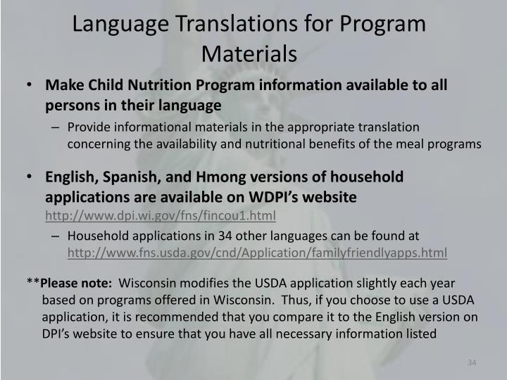 Language Translations for Program Materials