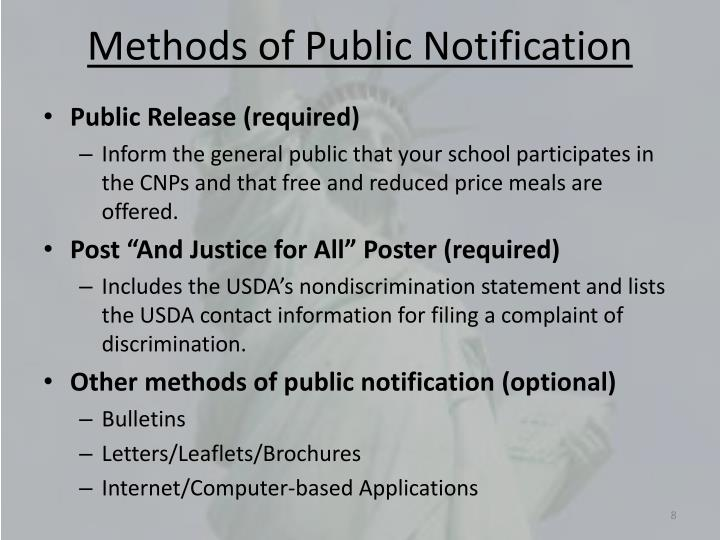 Methods of Public Notification