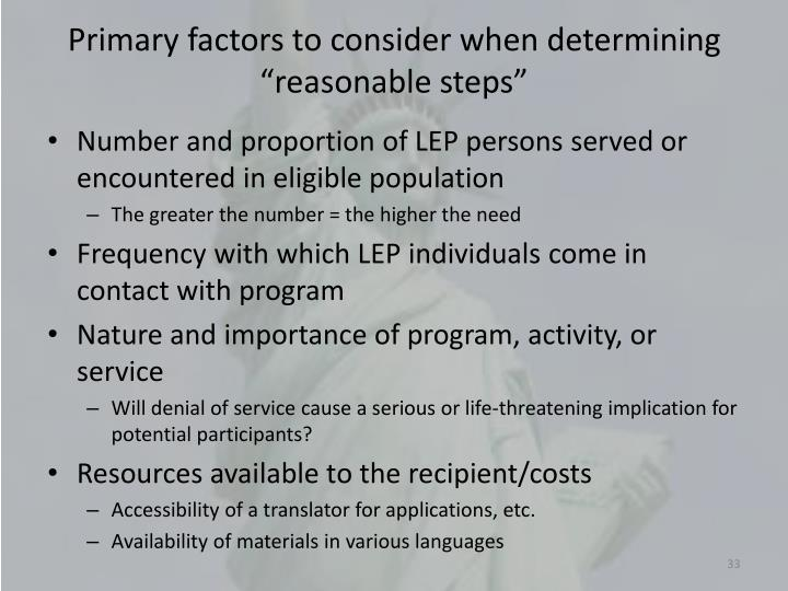"""Primary factors to consider when determining """"reasonable steps"""""""