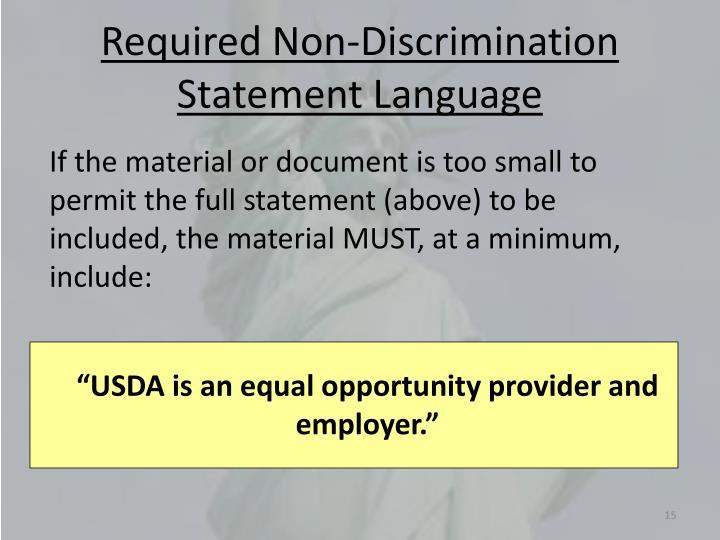 Required Non-Discrimination Statement Language