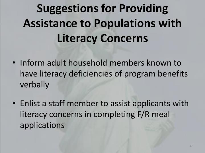 Suggestions for Providing Assistance to Populations with Literacy Concerns