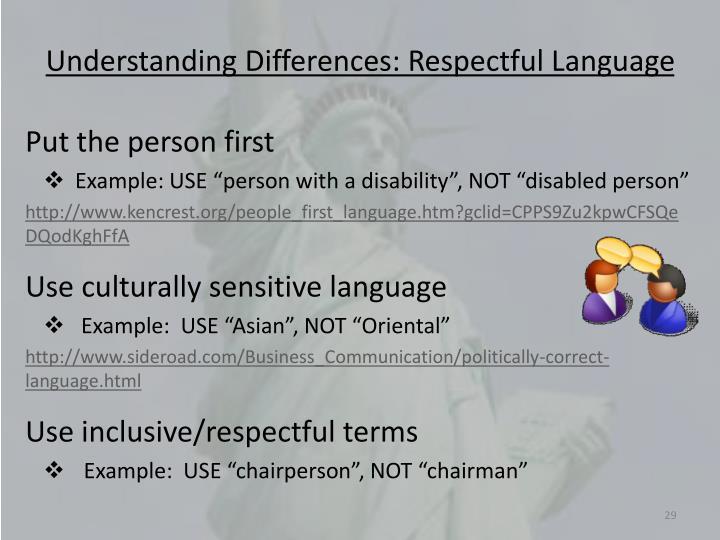 Understanding Differences: Respectful Language
