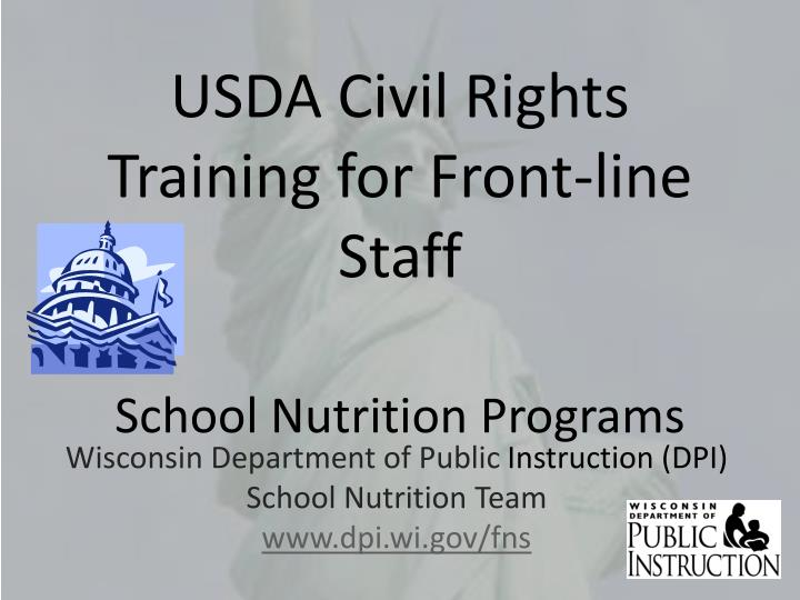 Usda civil rights training for front line staff school nutrition programs