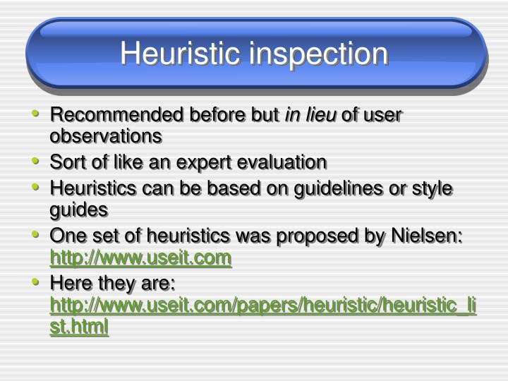 Heuristic inspection