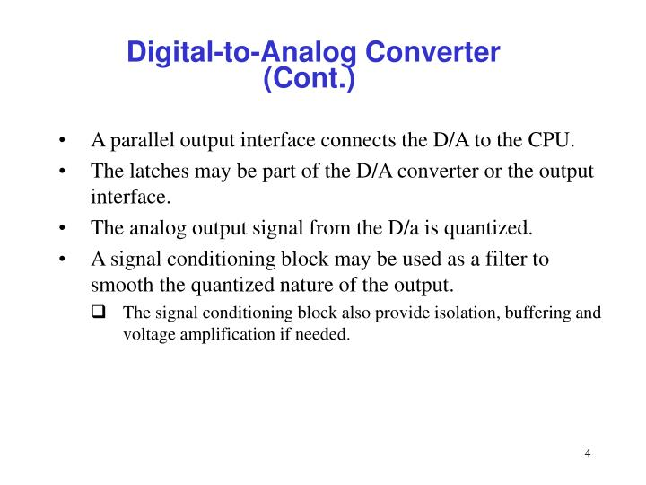 Digital-to-Analog Converter (Cont.)