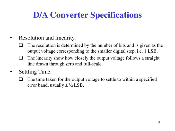 D/A Converter Specifications