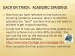 back on track academic standing