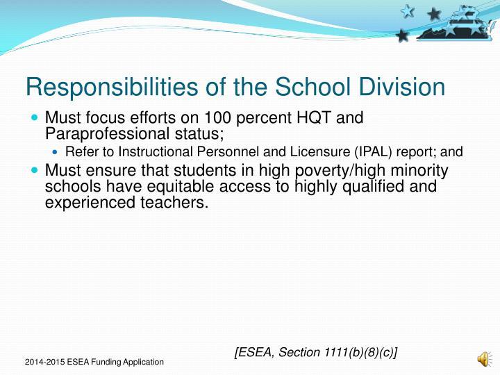 Responsibilities of the School Division