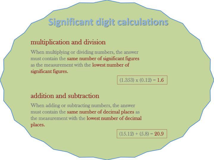 Significant digit calculations