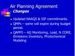 air planning agreement changes