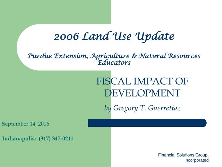 2006 land use update purdue extension agriculture natural resources educators