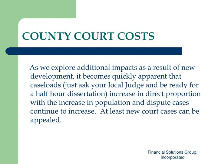 COUNTY COURT COSTS