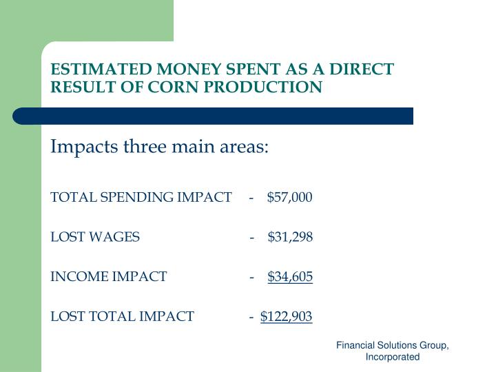 ESTIMATED MONEY SPENT AS A DIRECT RESULT OF CORN PRODUCTION