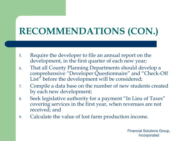 RECOMMENDATIONS (CON.)