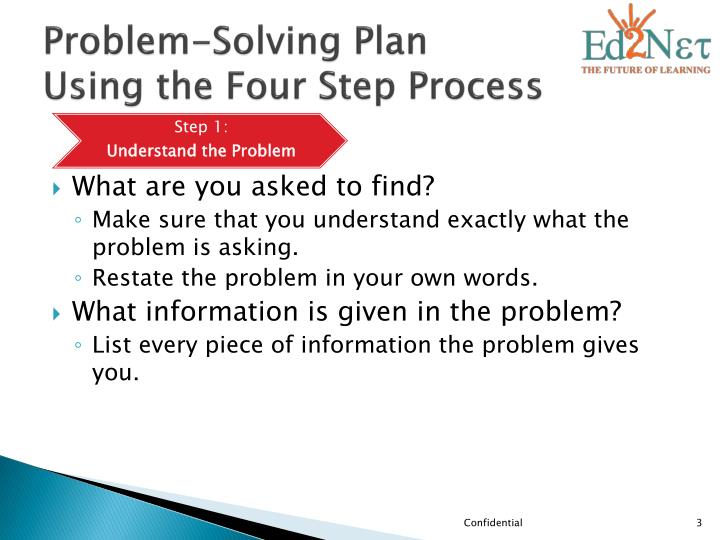 Problem solving plan using the four step process1