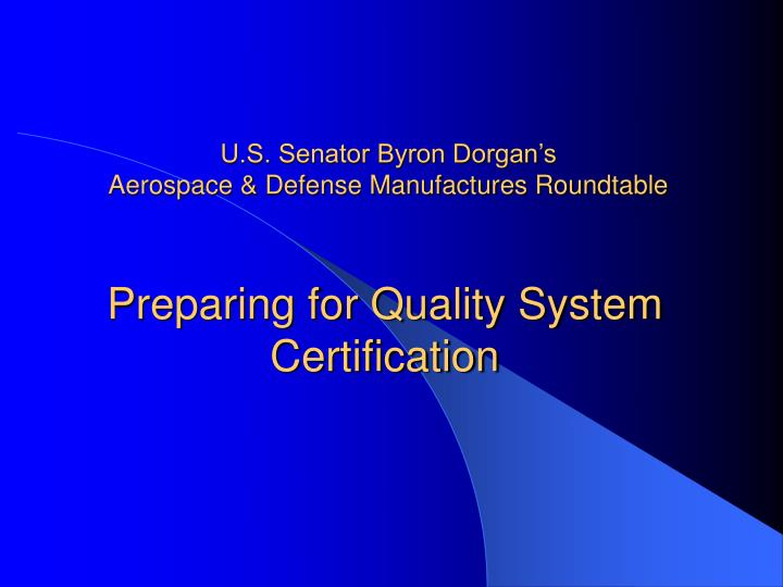 preparing for quality system certification n.