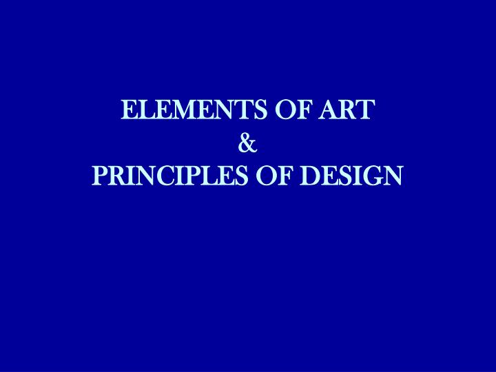elements of art principles of design n.