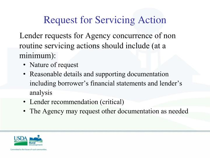 Request for Servicing Action