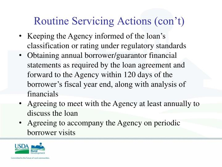 Routine Servicing Actions (con't)