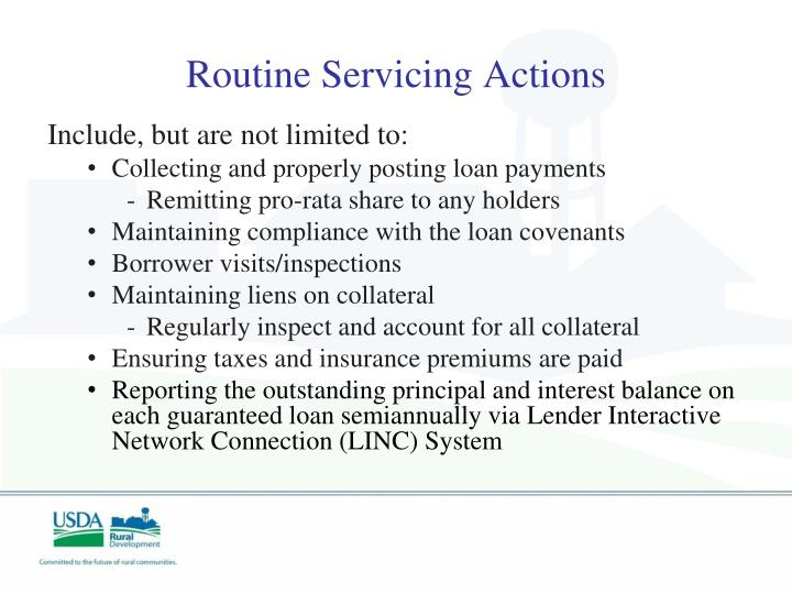Routine Servicing Actions