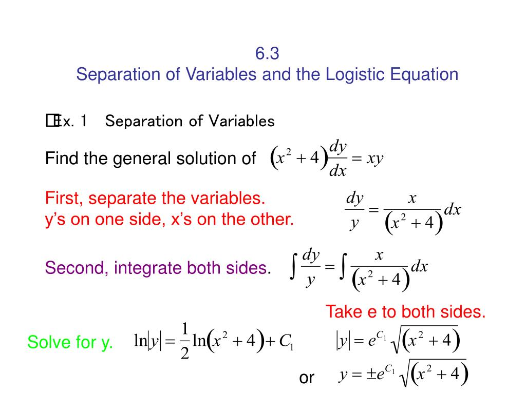 ppt - 6.3 separation of variables and the logistic equation