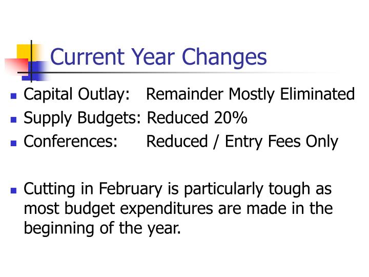 Current Year Changes