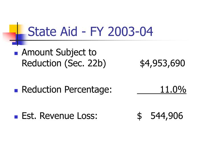 State Aid - FY 2003-04