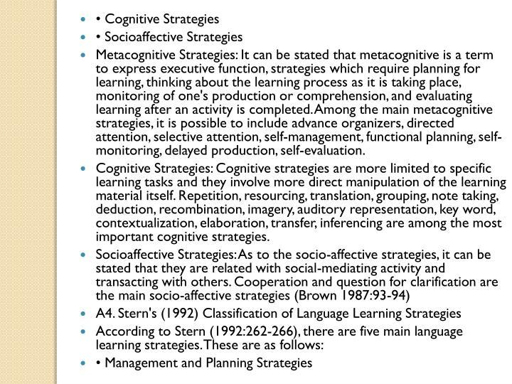 • Cognitive Strategies