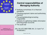 control responsibilities of managing authority