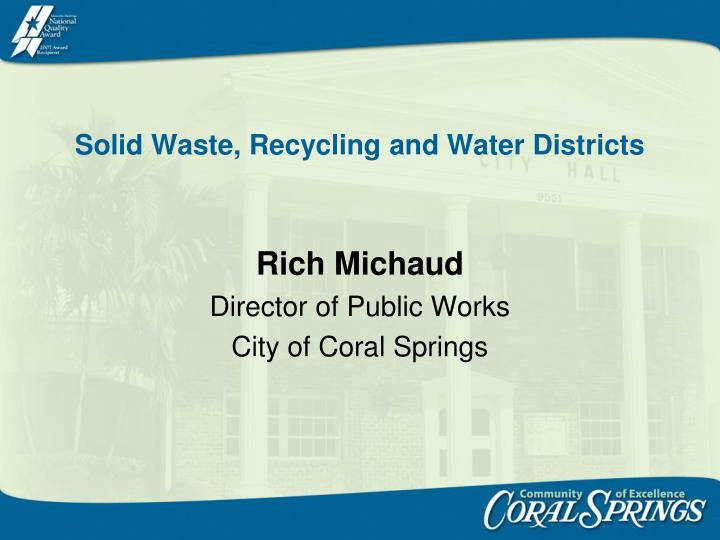 solid waste recycling and water districts n.