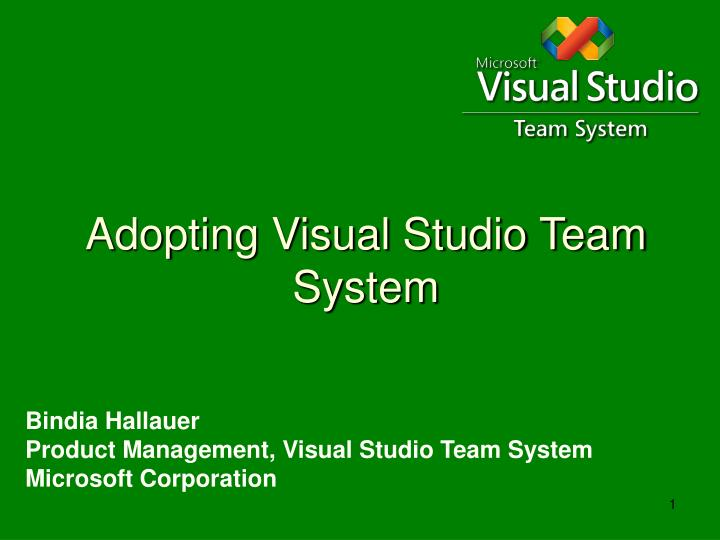 Adopting visual studio team system