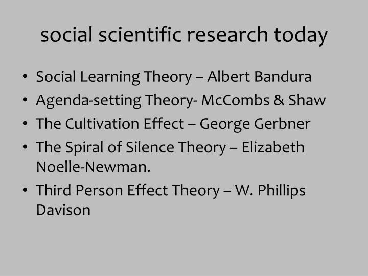 social scientific research today