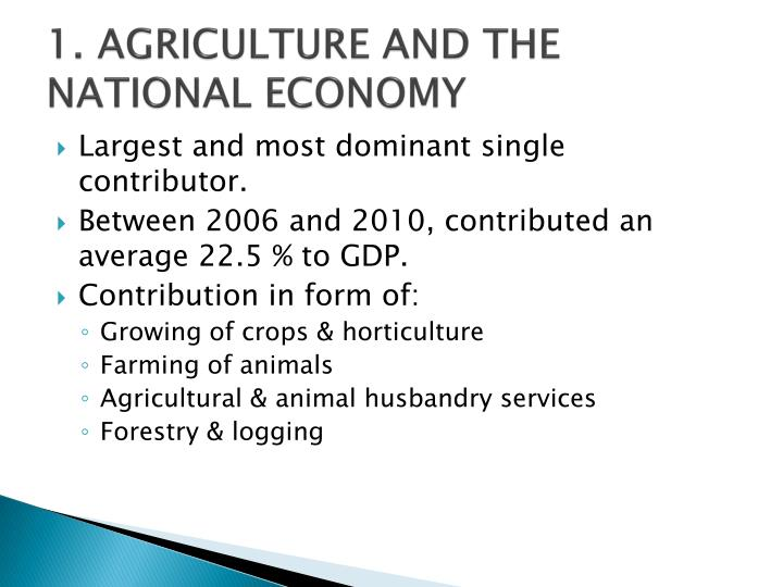 1 agriculture and the national economy