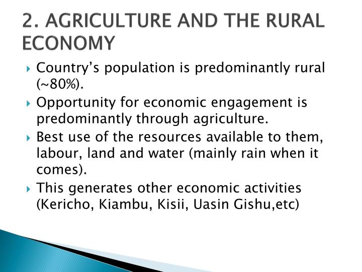 2. AGRICULTURE AND THE RURAL ECONOMY
