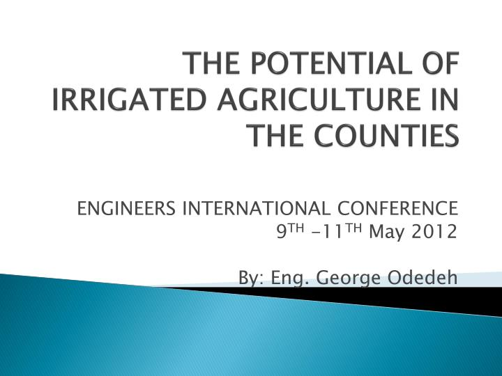 The potential of irrigated agriculture in the counties