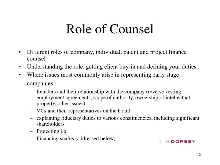 Role of Counsel
