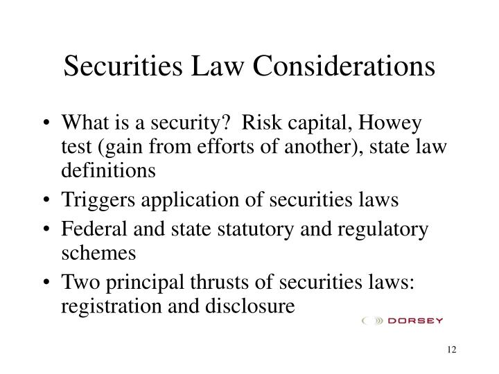 Securities Law Considerations