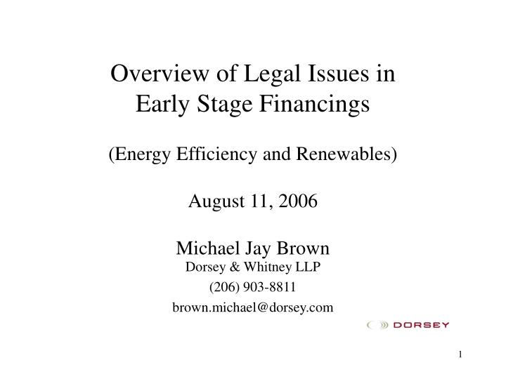 Overview of Legal Issues in