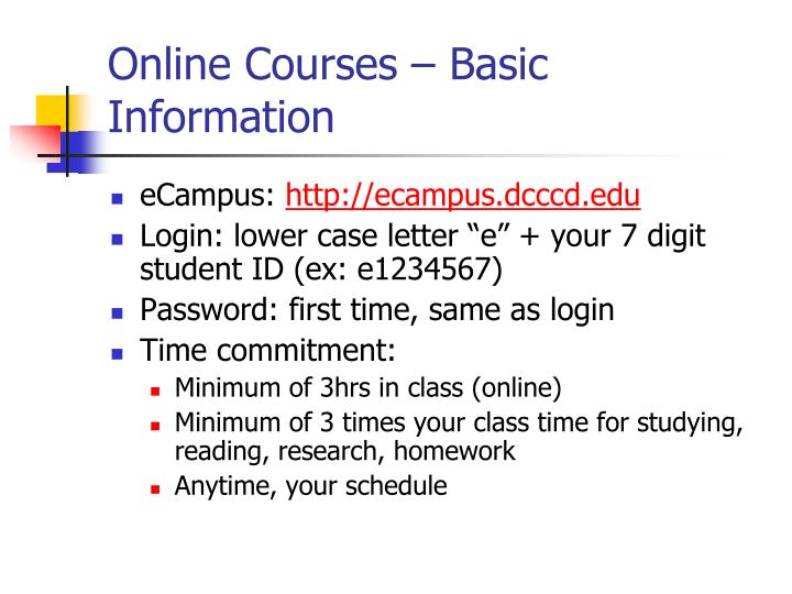 Online Courses – Basic Information