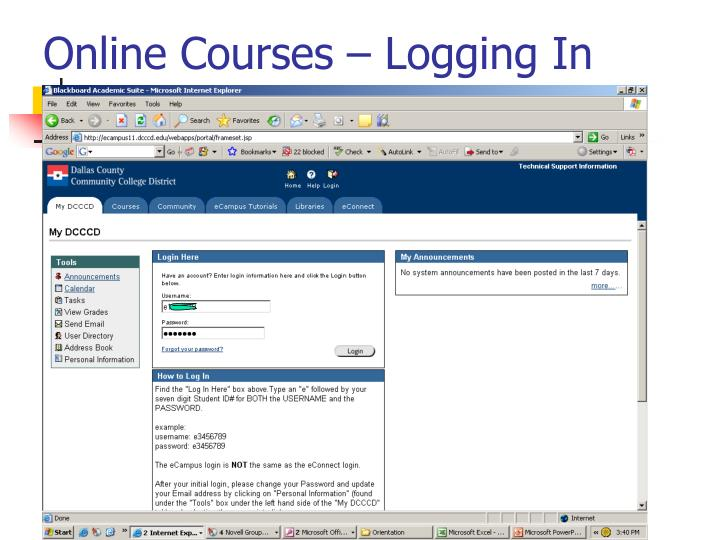 Online Courses – Logging In