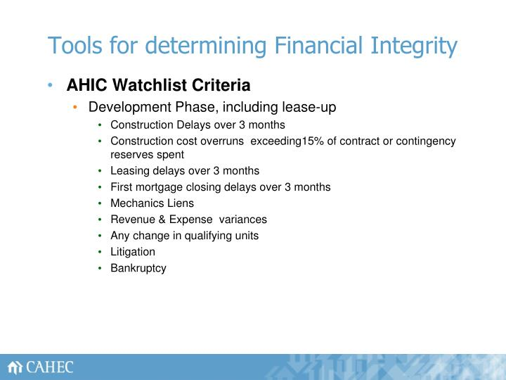 Tools for determining Financial Integrity