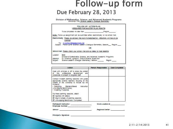 Follow-up form